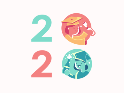 Class of 2020 flat design champagne diploma graduation graduate icon illustration