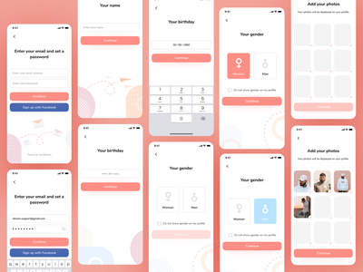 Sign up and onboarding flow for the dating app sign up flow uigiants ui kit mobile ui mobile ux dating app sign up ui sign up page sign up form signup sign in onboarding screen user experience dating interface user flow onboarding ui onboarding