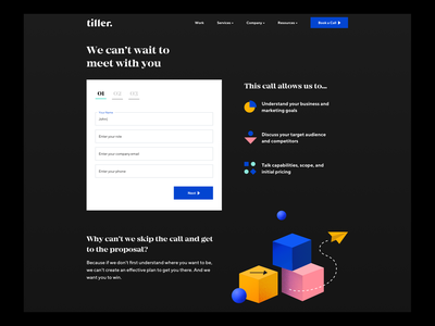 Tiller Website Contact Form dark agency website product colorful color 3d icons web ui ux contact