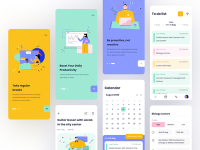 Task Manager Mobile App UI colorful calendar todo list todo app task manager onboarding design mobile icons ios illustration ux ui