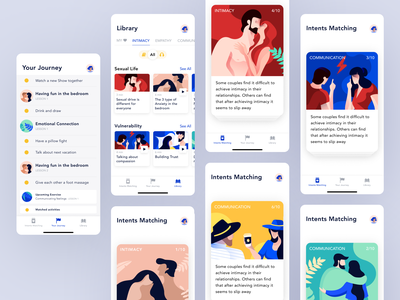 Mobile app for couples for improving sexual life mobile app mental emotional sexual health intimacy communication couples couple illustration design illustration ux ios ui