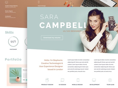 Online CV of a creative girl web resume template skills portfolio resume online cv landing page ui cv template cv