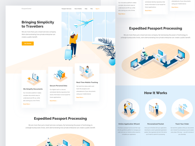 Graphic design for passport center website ui illustration icons landing page graphic design website travel travelling passport