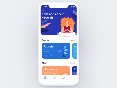Meditation iOS app - animated version player ui profile ios app meditation navigation animation icons mobile app illustration mobile ios ux ui