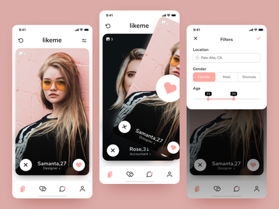 Dating App for iOS - Home screen and Filters interaction design icons mobile app filters swiping ux ui mobile ios dating app