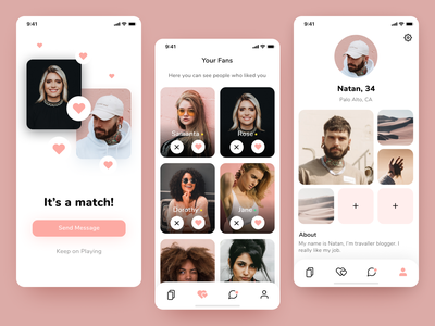 Dating iOS App - Match, Likes and Profile screens interaction design mobile app tab navigation navigation bar icons dating app uxdesign profile dating uidesign userinterface ux ui ios