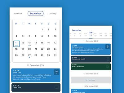 Calendar View ui minimal ux design flat ux app ui component ui elements typogaphy ui design ui pack