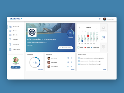 e-learning dashboard UI