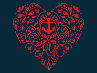 ERYC Valentines Tournament melodiepisciotti typography calligraphy lettering type paisley vector vector anchor nautical hearts valentine valentines