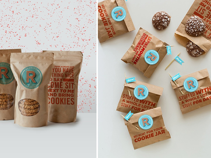 Reggie's Cookies typography logo logotype fun stickers sweets cookies melodiepisciotti identity branding packaging