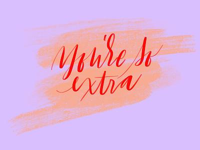 Extraaaa purple extra cursive lettering handlettering typography script handwritting type calligraphy