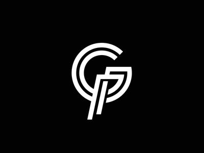 GP logo design monogram mark logo line icon p g emblem black