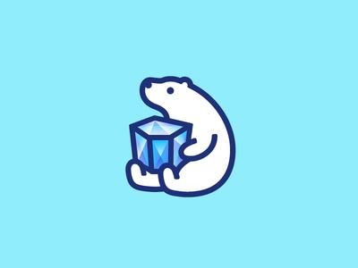 Polar Bear animal jewel iceberg ice white polar bear mark logo identity branding