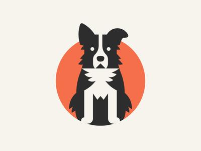 Border Collie blackwhite bordercollie dogs dog negativespace logo identity icon design brand