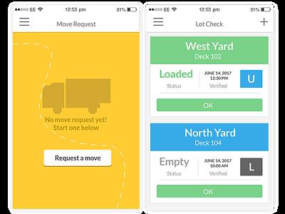 Mobile UI Design Yardview creative suite logistics illustrator product design uxui design mobile app