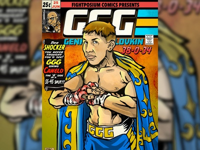 """Gennady """"GGG"""" Golovkin Comic Book Cover poster design adobe creative suite caricature cartoonist graphic design photoshop coloring ink pen and ink magazine cover illustration"""