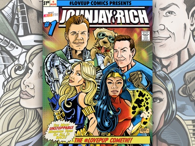 Johnjay & Rich Morning Show Comic Book Illustration