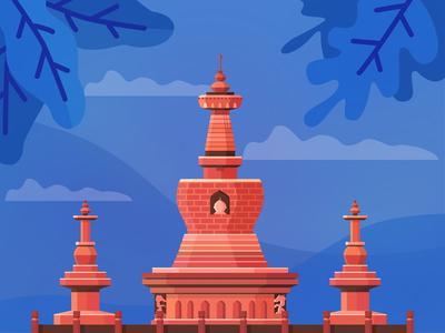 Tower in Yunnan China snapshot heritage collage temple illustration vector china yunnan kunming tower