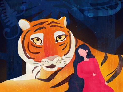 Tiger and girl ps photoshop girl tiger illustration