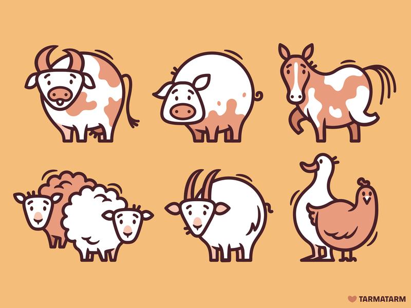 Farm Animals goose chiken goat sheep horse pig cow livestock farm animals animal