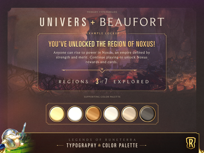 LoR // Typography & Color Palette color palette color lockup gaming interactive texture ui design type typography
