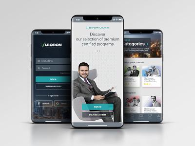 leoron app mobile branding education ui ux design website training course knowledge