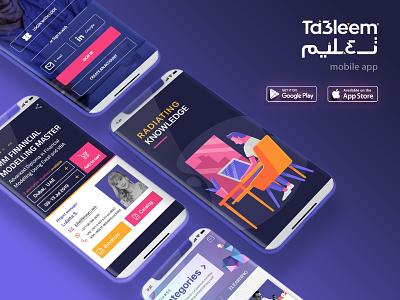 Ta3leem mobile app brochure radiating knowledge live virtual elearning online mobile app branding design education training course knowledge