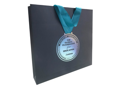 paper bag graphic design medal course branding knowledge radiating global trademark education