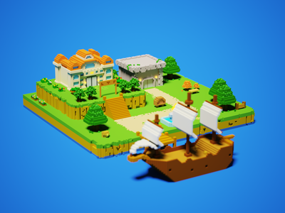 3D village village illustration design pixelart pixel island building 3d artist 3d art