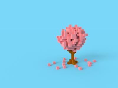 sakura tree in voxel