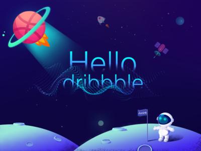 """""""Hello dribbble !"""" universe of magic the add"""