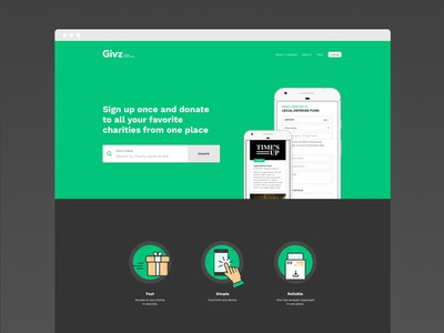 Givz - Landing Page start-up tech charity donate donation responsive ux ui web app landing web website