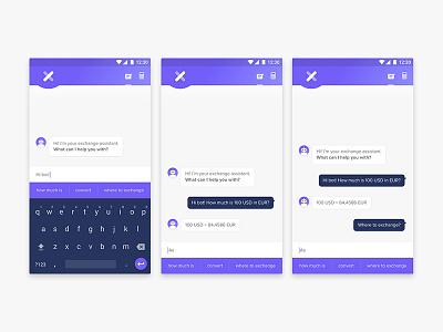 Xchange Assistant App Concept app ux ui exchange currency convert money bot chat calculator