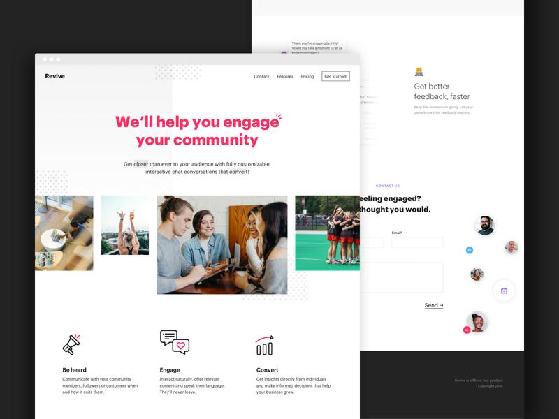 Revive Chat - Landing Page engagement community millennial purple icons emojis desktop website userinterface ui chatbot chat landing page