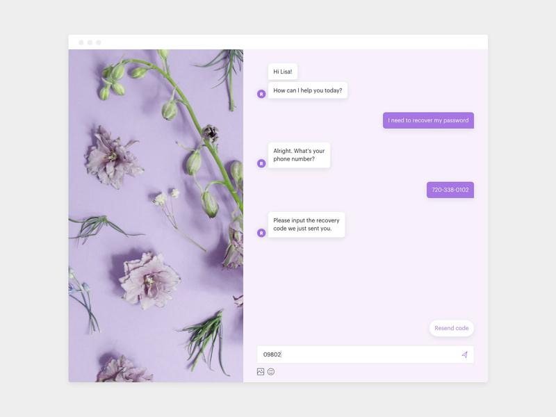 Revive Chat - Desktop UI desktop password recovery purple chatbot chat ui