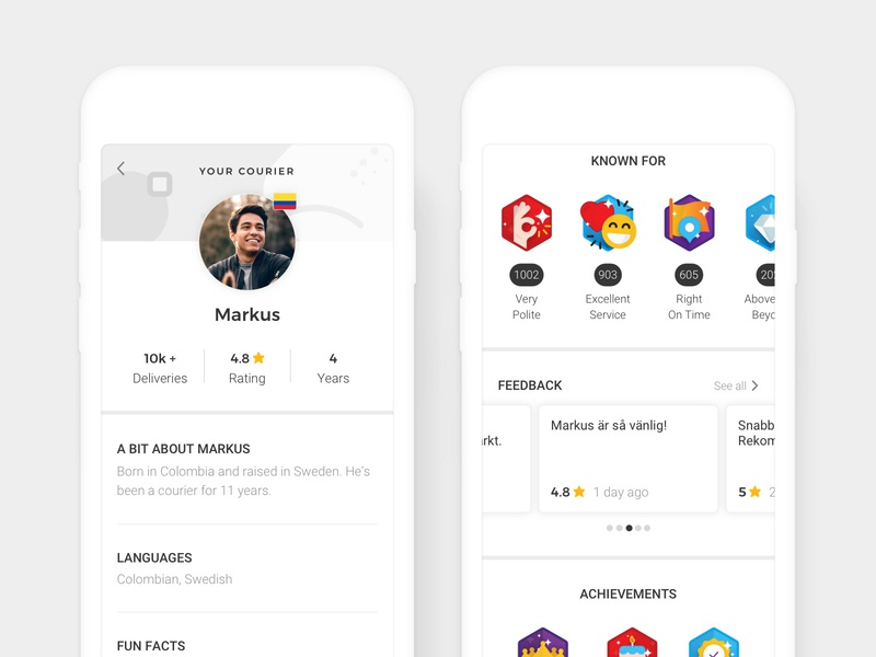 Airmee - Gamification mobile tracking delivery logistics star comments feedback points rate rating profile gamification badges illustration web user interface ui