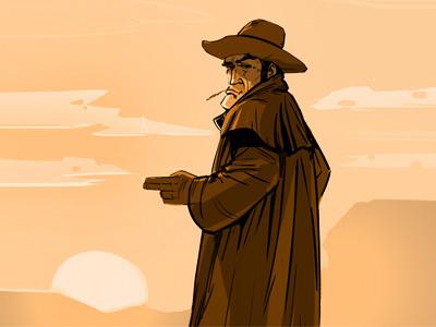 Cowboy character cartoon wildwest man cowboy western