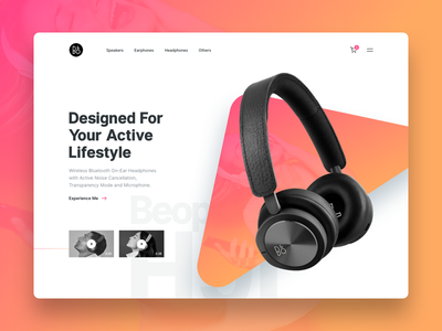 B&O Concept Design landing design landing page headphones headphone headset music branding design web ux ui