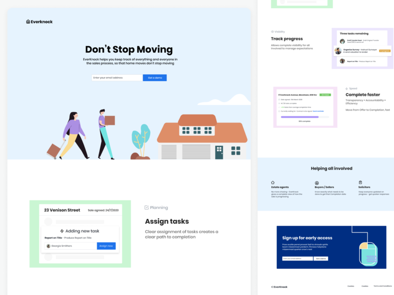 Landing page | Proptech webflow colour homepage startup property home landing page concept ux visual daily ui branding illustration uipractice figma product design design ui moving landing page marketing site