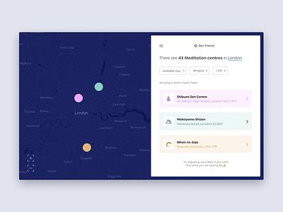 Daily UI #29 | Map | Zen Friend uidesign design app product interface daily ui 0029 daily ui challenge mapping mapbox maps map dark ui minimal uiux uipractice ux  ui figma daily ui product design ui design