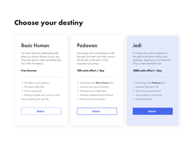 Daily UI #30 | Pricing | Choose your destiny starwars ui design visual design pricing plans pricing plan selector prices pricing table price pricing jedi minimal uiux uipractice ux  ui figma daily ui product design ui design