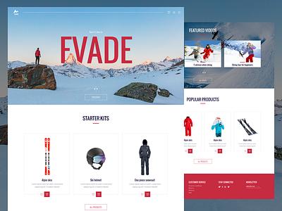 Evade - Ecommerce Ski equipment mountains ski interface ui webdesign website ecommerce