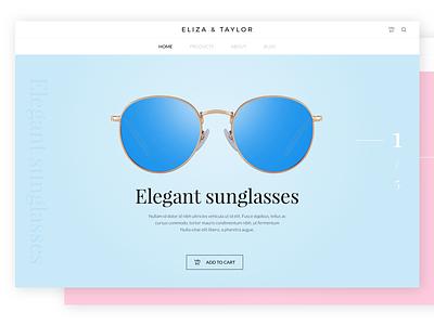 E-commerce sunglasses website colored vintage elegant pink blue sunglasses ecommerce