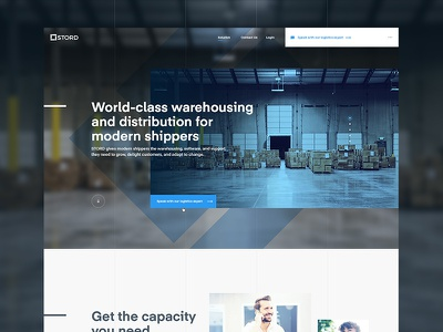 STORD - homepage typography warehousing logistics ux ui web website