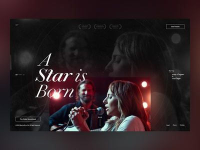 A Star Is Born ui film movies typography website web design