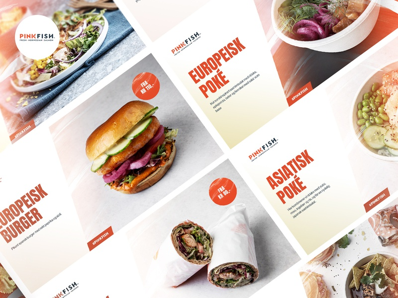 PinkFish Ads salmon food typography ads ui website