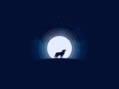 Wolf at moon design art ilustracao logo inspiration illustration design