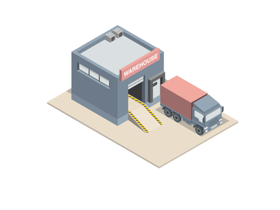 Isometric Warehouse And Truck