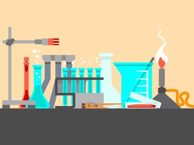 Scientific still life. Flat design Illustration.