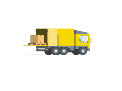 Truck With Pallet And A Package On The Loading Platform. Flat Ve